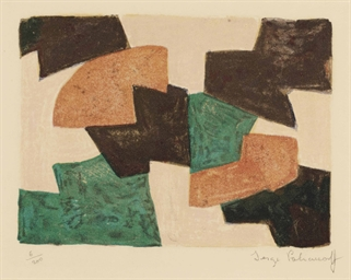 Serge poliakoff 1900 1969 composition verte beige rouge et brune polia - Salon rouge et beige ...