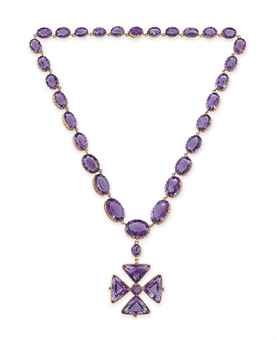 AN ANTIQUE AMETHYST PENDANT NECKLACE