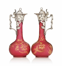 a pair of wmf art nouveau silvered metal and pink glass decanters circa 1900 christie 39 s. Black Bedroom Furniture Sets. Home Design Ideas