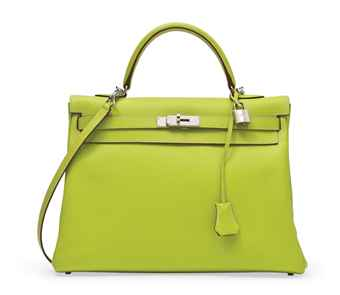 A KIWI AND LICHEN EPSOM LEATHER CANDY KELLY BAG