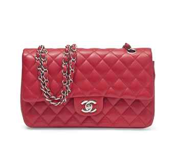 A SCARLET LAMBSKIN LEATHER CLASSIC DOUBLE FLAP BAG
