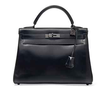 A BLACK BOX LEATHER SO BLACK KELLY BAG