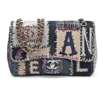 A MULTI-COLOUR LEATHER, DENIM AND BOUCLÉ PATCHWORK FLAP BAG