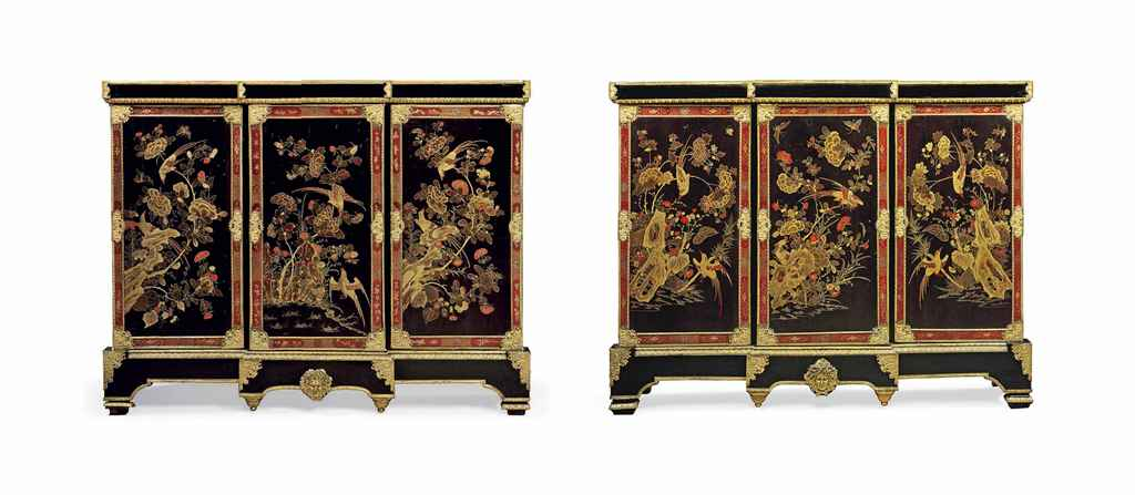 a pair of regence ormolu mounted and brass inlaid ebony chinese lacquer and vernis martin. Black Bedroom Furniture Sets. Home Design Ideas