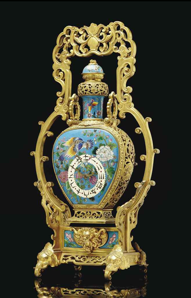 a french japonisme ormolu and cloisonne enamel mantel clock attributed to escalier de. Black Bedroom Furniture Sets. Home Design Ideas