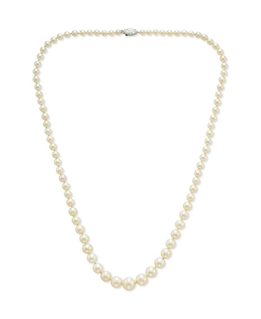 Single Strand Pearl Necklace: A SINGLE-STRAND PEARL NECKLACE, BY TIFFANY & CO.