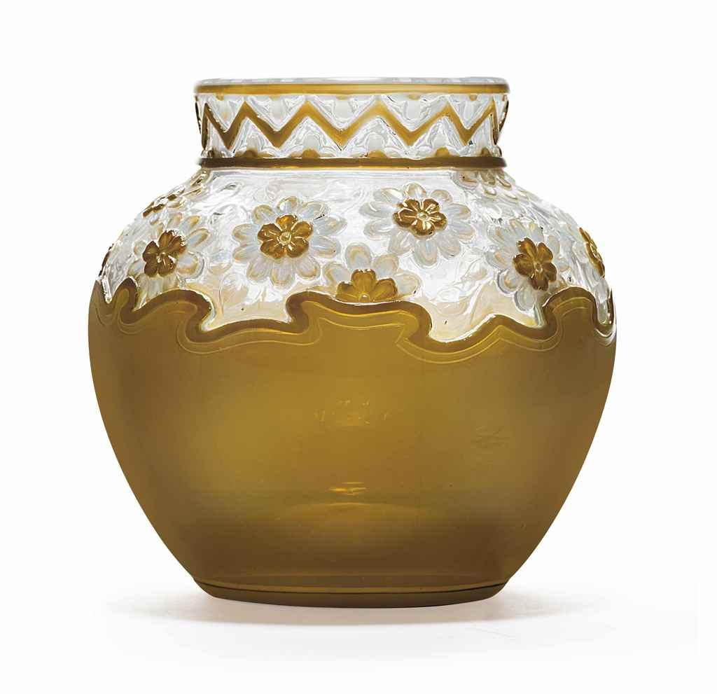 A Webb Cameo Glass Vase Circa 1889 1905 Acid Etched