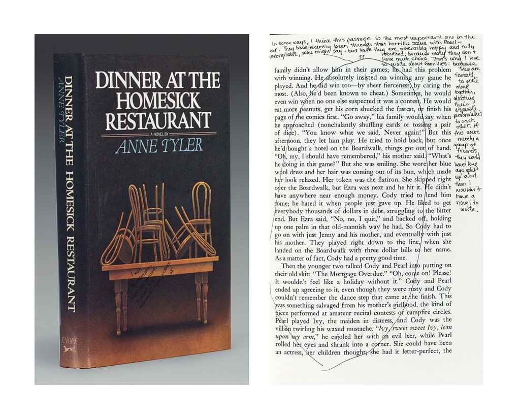 anne tylers classic novel dinner at the Dinner at the homesick restaurant is a 1982 novel by anne tyler, set in baltimore, maryland it is anne tyler's ninth novel it is anne tyler's ninth novel in 1983 it was a finalist for the pulitzer prize , [1] the national book award , [2] and the pen/faulkner award.
