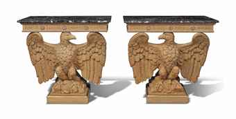 A PAIR OF CARVED PINE AND PARCEL-GILT CONSOLE TABLES