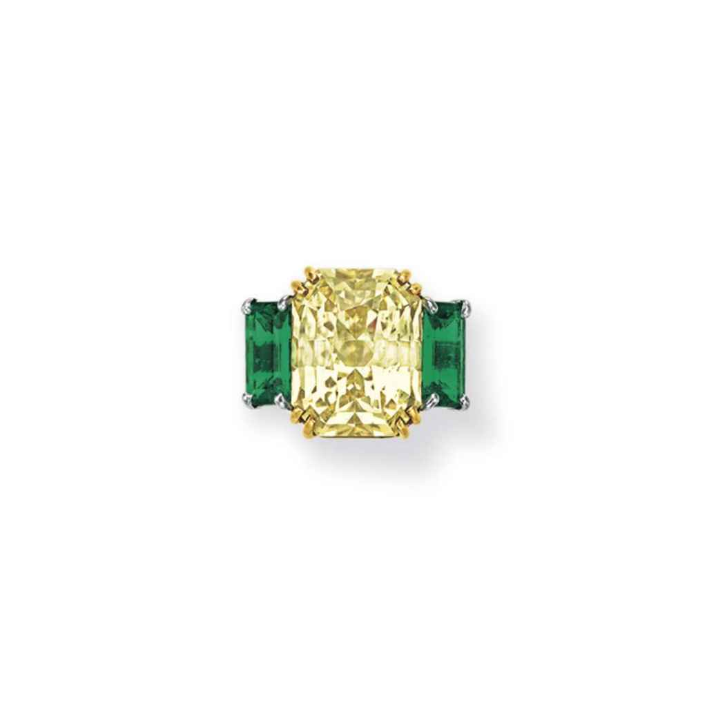 a yellow sapphire and emerald ring christie s