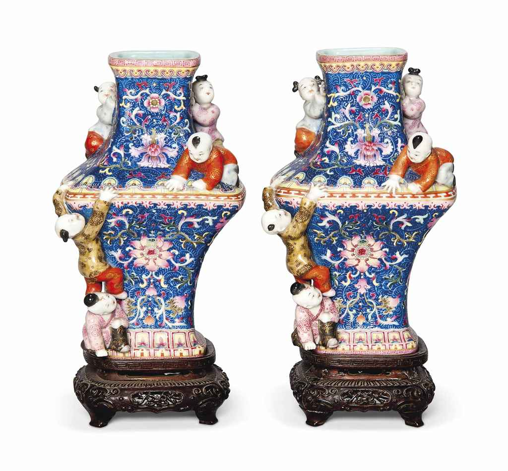 A Pair Of Famille Rose Blue Ground Moulded Five Boys