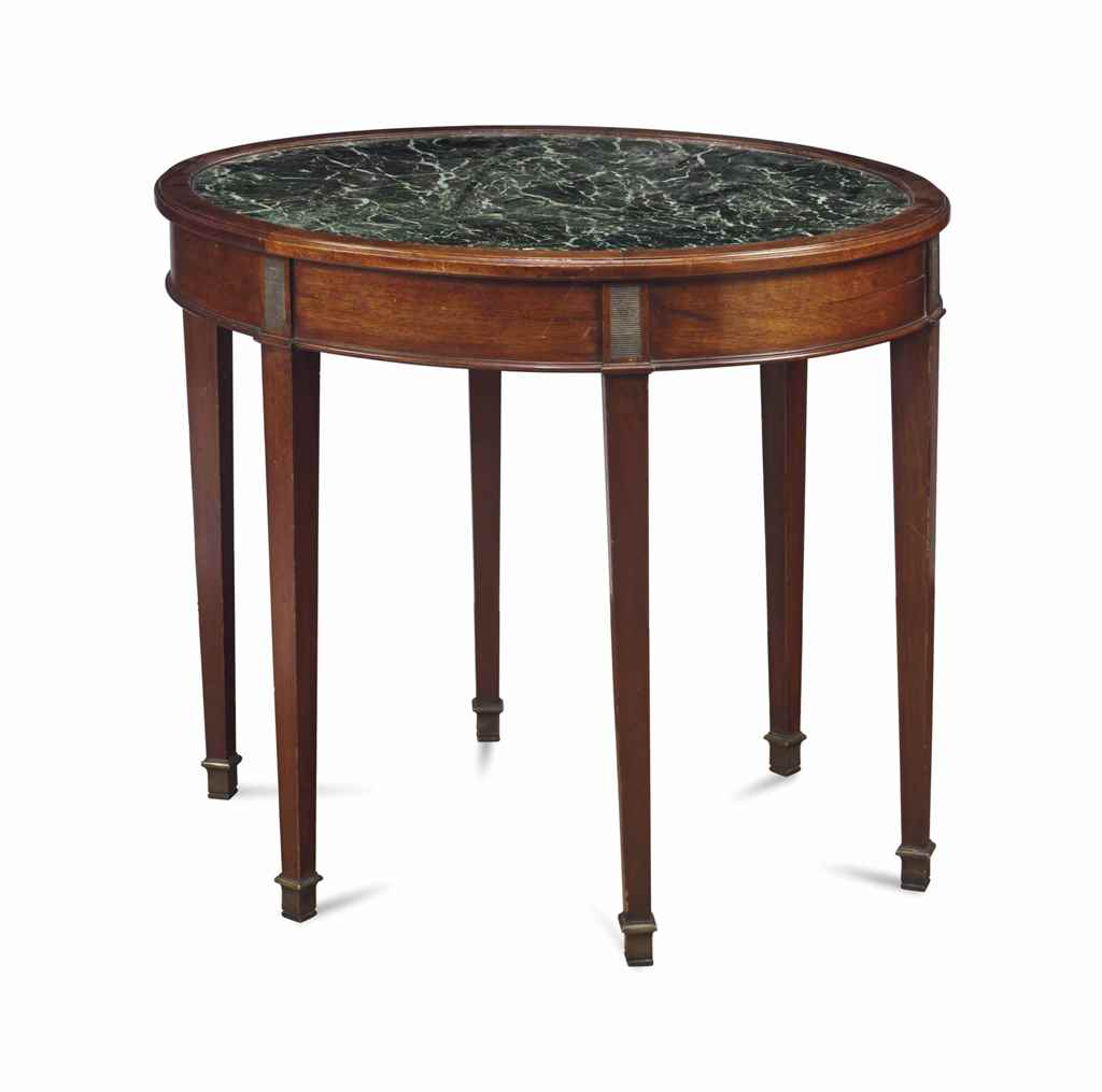 A continental mahogany and marble inset oval center table for Table th center text