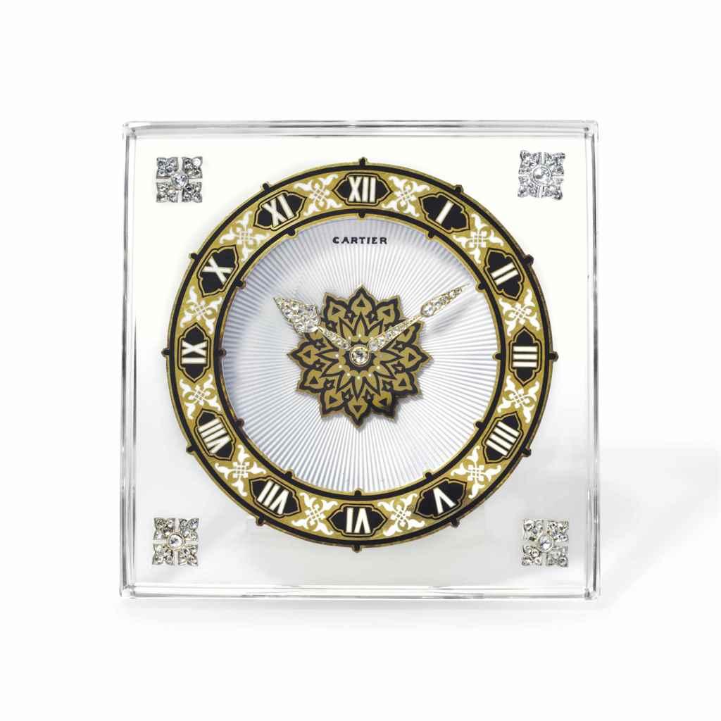Http 2015 06 23 Never 07 Christies Parcel Kristal Pja 1670 Cartier A Fine Silver Rock Crystal Enamel And Diamond Set Strut Desk C D5911325g
