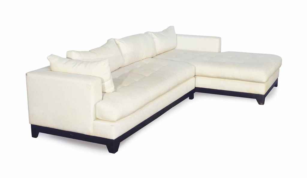 An ebonized and white linen upholstered two piece for White linen sectional sofa