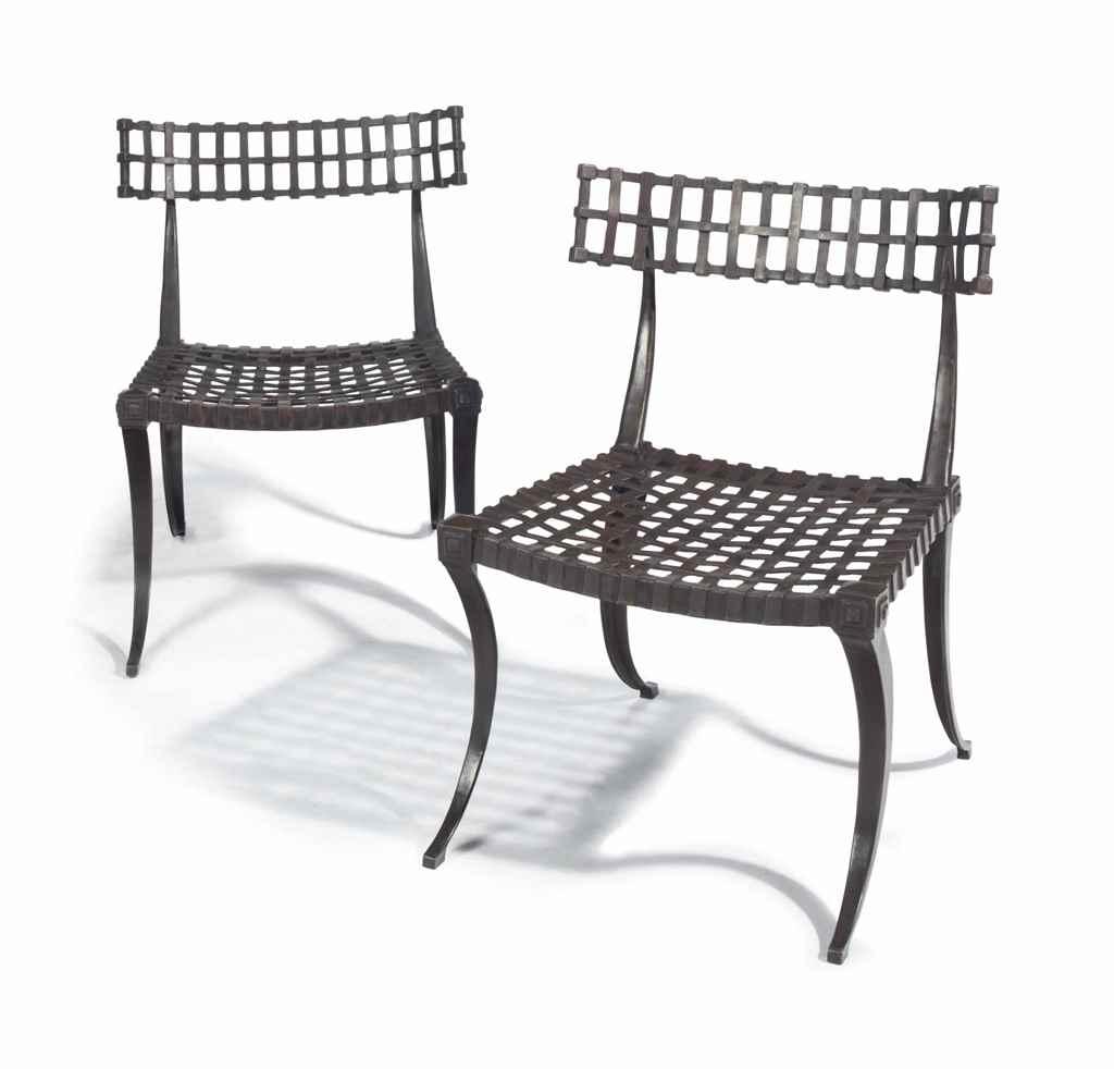 Modern Klismos Chair: A PAIR OF BRONZE KLISMOS CHAIRS, , MODERN