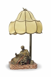 Novelty Lamp Finials : AN AUSTRIAN COLD-PAINTED BRONZE NOVELTY LAMP , CAST FROM A MODEL BY BRUNO ZACH (1891-1935 ...
