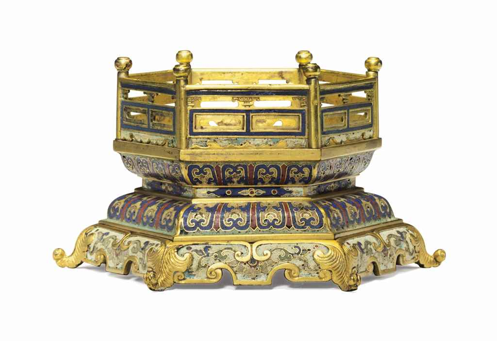 An imperial cloisonn enamel hexagonal stand qianlong for Cloison stand