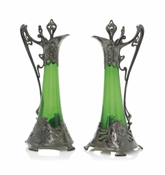 a pair of wmf art nouveau silvered metal and glass wine ewers circa 1900 stamped makers. Black Bedroom Furniture Sets. Home Design Ideas