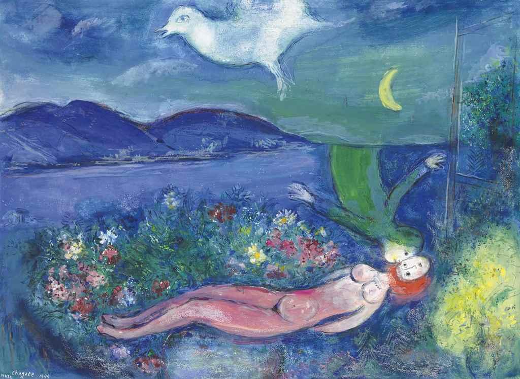 Marc Chagall (1887-1985) , Les amoureaux au Cap-Ferrat ... Chagall Ferrat