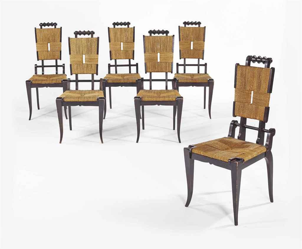 Travail francais suite de six chaises vers 1940 for Chaise de travail