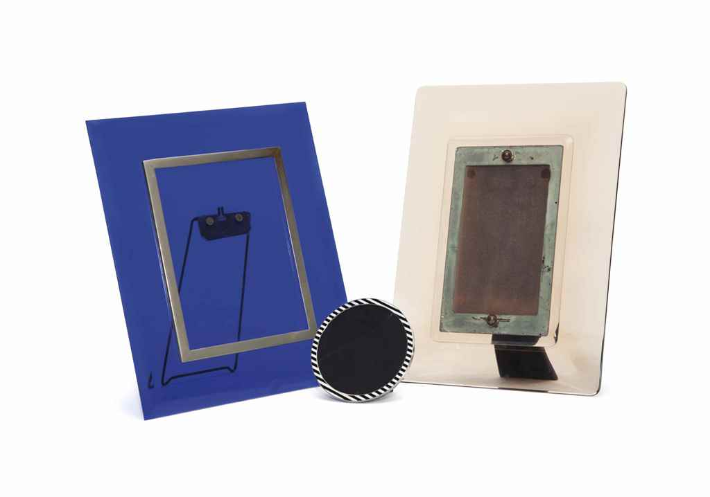 an italian blue glass picture frame attributed to