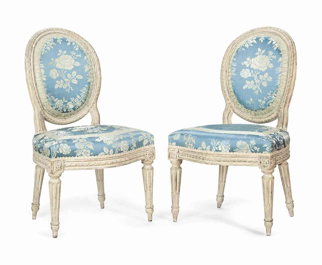 a pair of louis xvi gray painted chaises by antoine. Black Bedroom Furniture Sets. Home Design Ideas