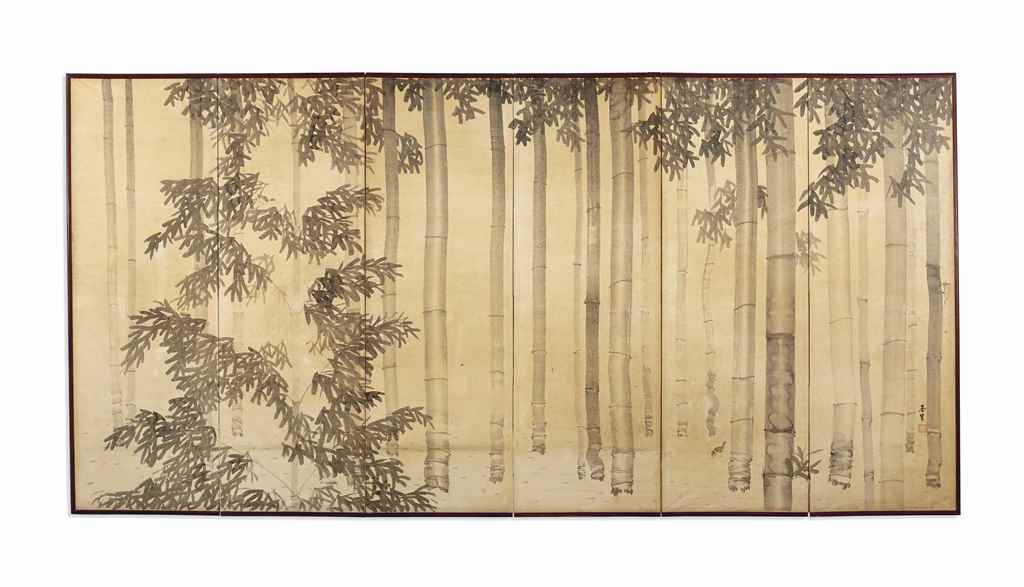 Paravent a six feuilles encre et couleur sur papier - Paravent papier ...