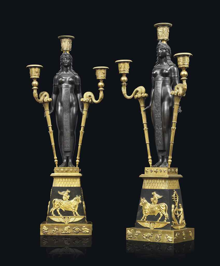 a pair of empire 39 retour d 39 egypte 39 ormolu and patinated. Black Bedroom Furniture Sets. Home Design Ideas