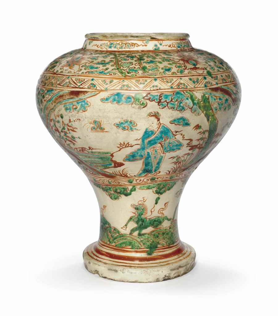 A Cizhou Type Polychrome Decorated Baluster Vase Ming