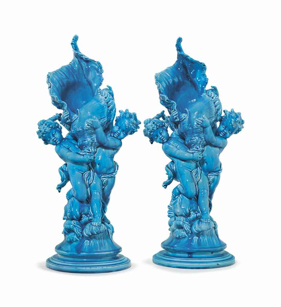 A pair of french optat milet faience turquoise glazed for Faience turquoise