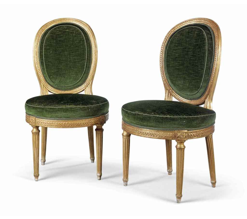 a pair of louis xvi giltwood 39 chaises medallion 39 by. Black Bedroom Furniture Sets. Home Design Ideas