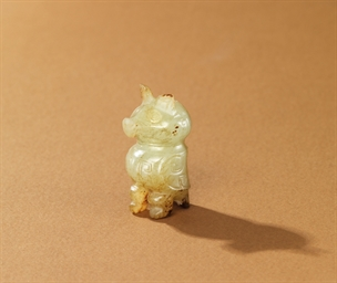 An Important And Rare Celadon Jade Carving Of An Owl