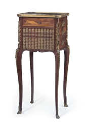 A french ormolu mounted mahogany kingwood and marquetry for Table de nuit new york