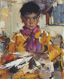Nicolai fechin 1881 1955 indian boy with fan christie 39 s for Nicolai fechin paintings for sale