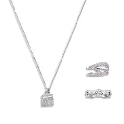 857d11a655d48 A SET OF THREE: A DIAMOND & 18K WHITE GOLD KELLY AMULETTE PENDANT ...