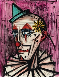 Bernard Buffet (1928-1999) , Clown à la marguerite ...