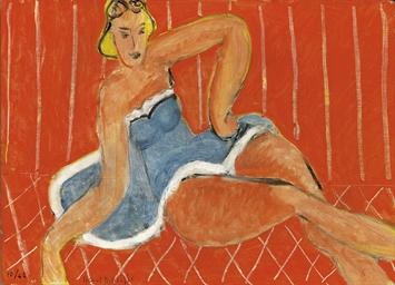 Henri Matisse (1869-1954) , Danseuse assise sur une table, fond rouge