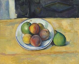 Paul Cézanne (1839-1906) , Nature morte de pêches et poires