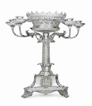 A REGENCY SILVER SIX-LIGHT CAN