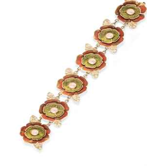 A GOLD AND ENAMEL BRACELET, BY