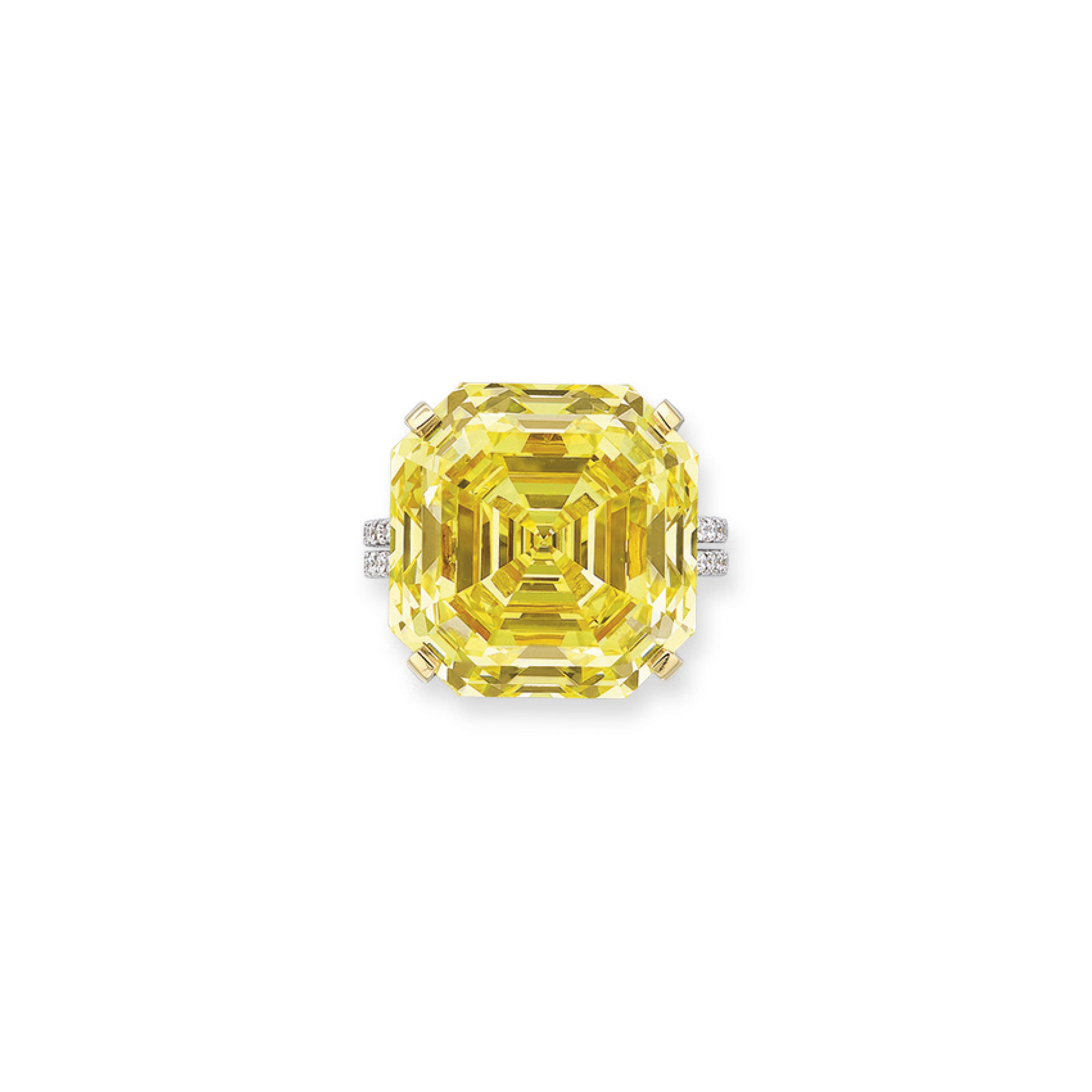 Fancy Vivid Yellow diamond ring of 31.17 caratsPrice Realised: HK$16,690,000 / US$2,160,079