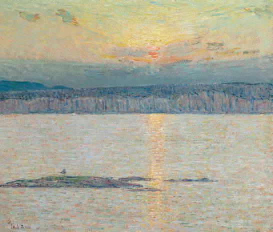 Childe Hassam (1859-1935),Sunset: Ironbound, Mt. Desert, Maine,oil on canvas, Painted in 1896. Estimate: $1,500,000 - 2,500,000