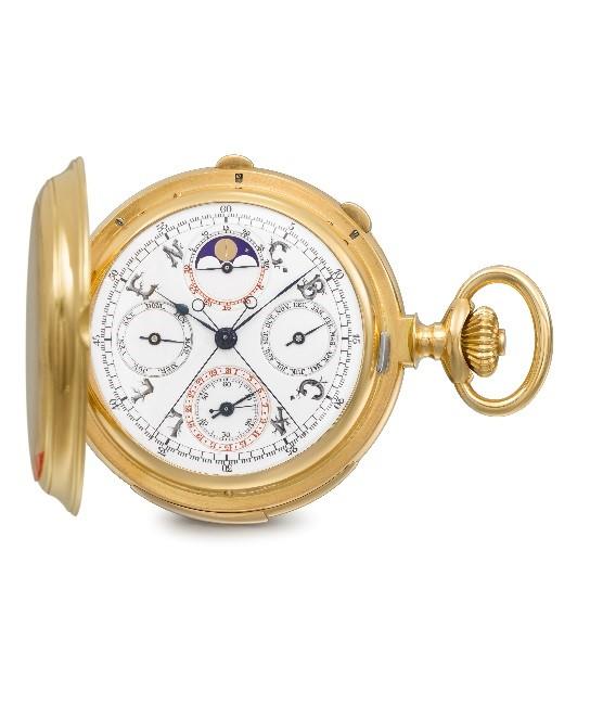 Patek Philippe 18k Gold Hunter Case Minute Repeating Perpetual Calendar Split-Second Pocket Watch, commissioned in 1904. Estimate: $400,000 - $800,000