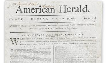 """We, the PEOPLE….""A rare front-page printing of the United States Constitution inThe American Herald, September 30, 1787. Estimate: $30,000-50,000"