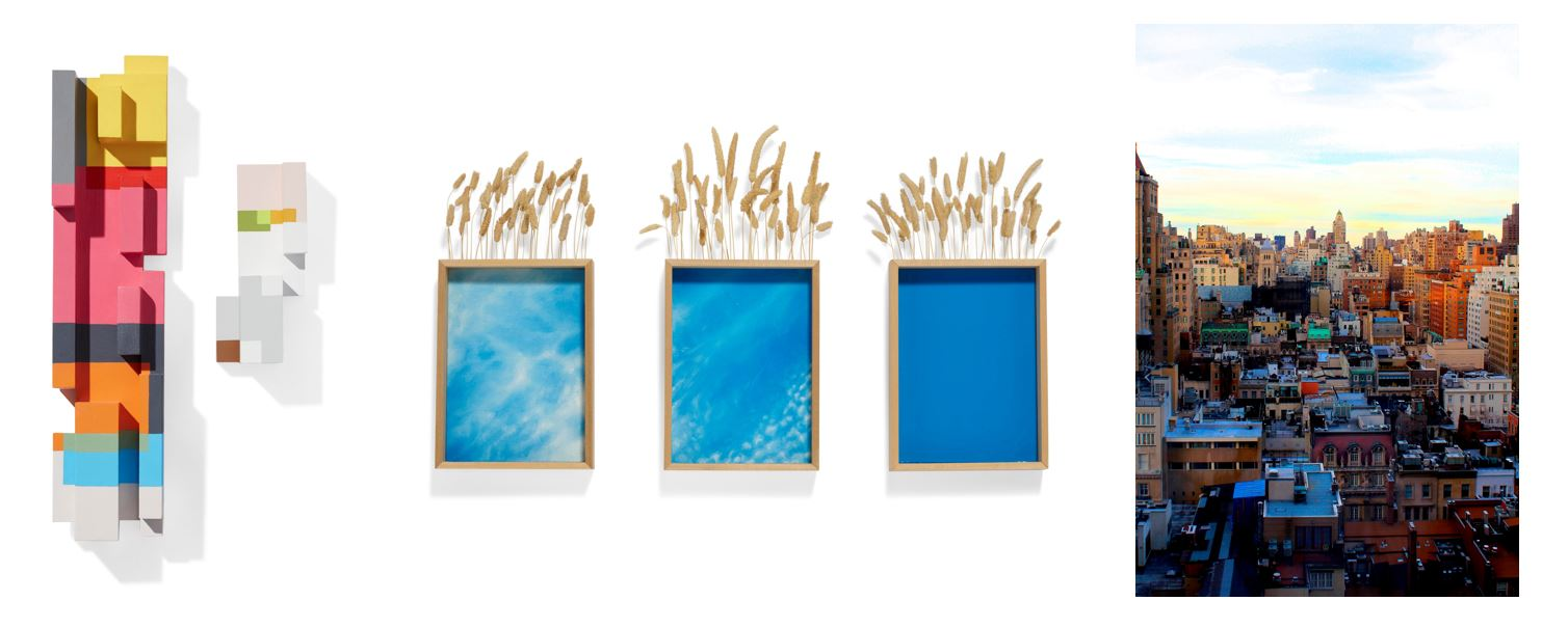 (left to right) TIM BALBONI, Ida and Dactyl, diptych, acrylic on basswood, Estimate: $1,000 - 1,500; LAURA MURRAY, Oklahoma Studies, oil on 3 panels, wood, hay Oklahoma state quarter, Estimate: $600 - 800.; ALIX BICKSON, Concrete Jungle, chromogenic print, Estimate: $100 - 200.