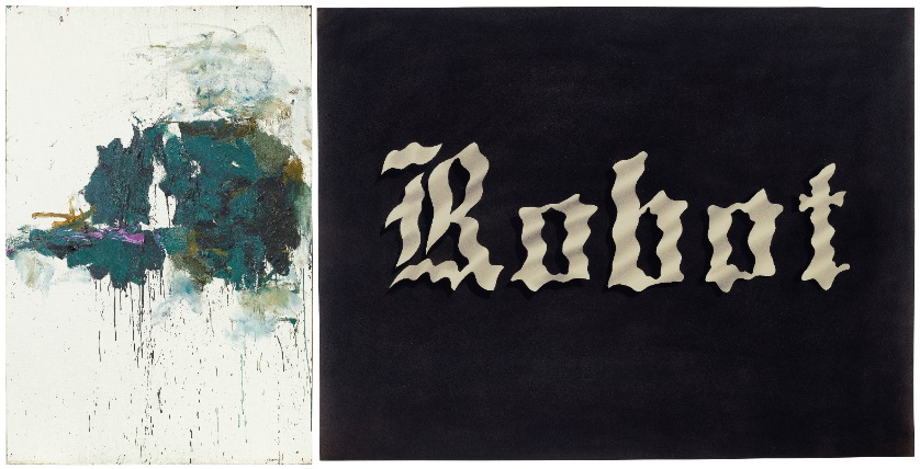 (left to right) Joan Mitchell, Violet Cypress, 1964, oil on canvas, Sold for: $1,575,000; Ed Ruscha, Wavy Robot, 1975 Gunpowder on paper. Sold for: $1,203,000
