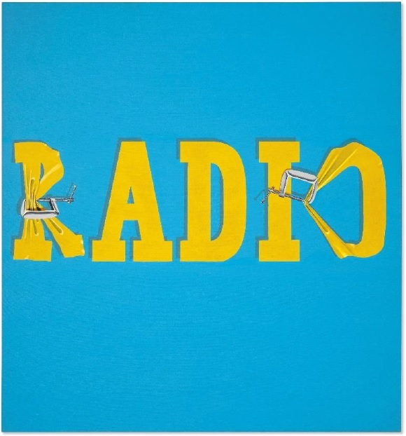 Ed Ruscha (b. 1937), Hurting the Word Radio #2, 1964. Oil on canvas. 59 x 55 in (149.9 x 139.7 cm). Estimate: $30,000,000-40,000,000. Offered in the Post-War and Contemporary Art Evening Sale on 13 November at Christie's in New York. © Ed Ruscha