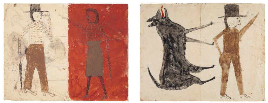 Bill Traylor (circa 1853-1949), Man on White, Woman on Red / Man with Black Dog (double-sided), 1939-1942, tempera and graphite on repurposed paper, 18 ⅞ x 24 in., Estimate: $200,000-400,000