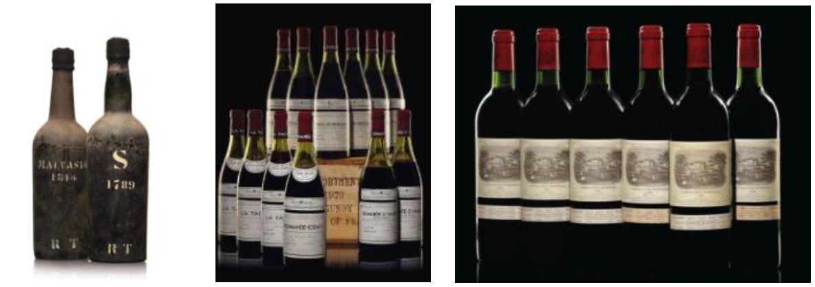 (From left to right) Lot 843, Rufino Teixeira, Malvasia 1814, 2 bottles per lot, Price realized: $11,875. Lot 263, Domaine de la Romanée-Conti, Assortment 1978, 12 bottles per lot, Price Realized: $37,500. Lot 146, Château Lafite-Rothschild 1982, 12 bottles per lot, Price realized: $32,500.