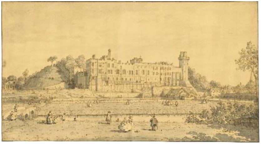 GIOVANNI ANTONIO CANAL, IL CANALETTO (VENICE 1697-1768), View of the South front of Warwick Castle, pen and brown ink, gray wash, estimate: $800,000-1,200,000